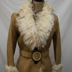 Vintage leather and Lamb's wool fitted coat